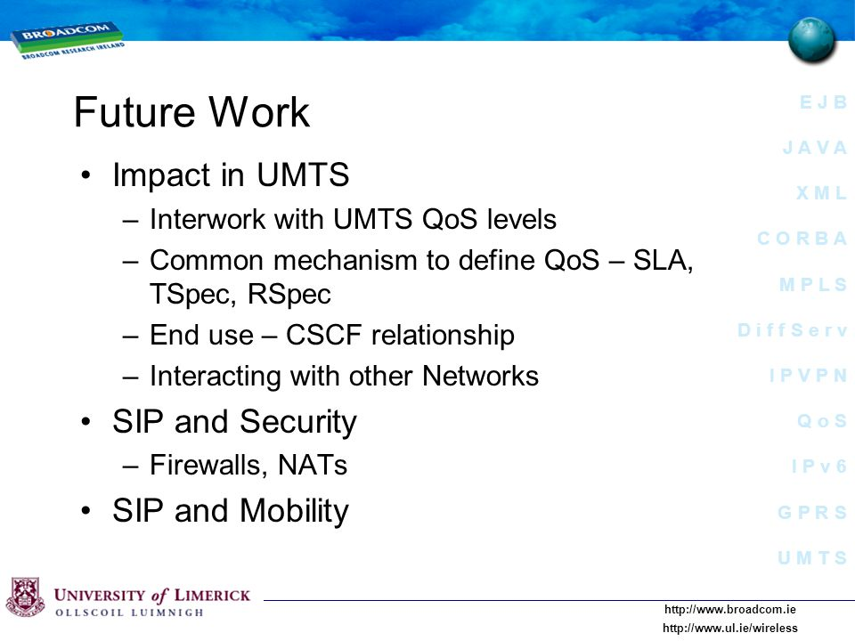E J B J A V A X M L C O R B A M P L S D i f f S e r v I P V P N Q o S I P v 6 G P R S U M T S     Future Work Impact in UMTS –Interwork with UMTS QoS levels –Common mechanism to define QoS – SLA, TSpec, RSpec –End use – CSCF relationship –Interacting with other Networks SIP and Security –Firewalls, NATs SIP and Mobility