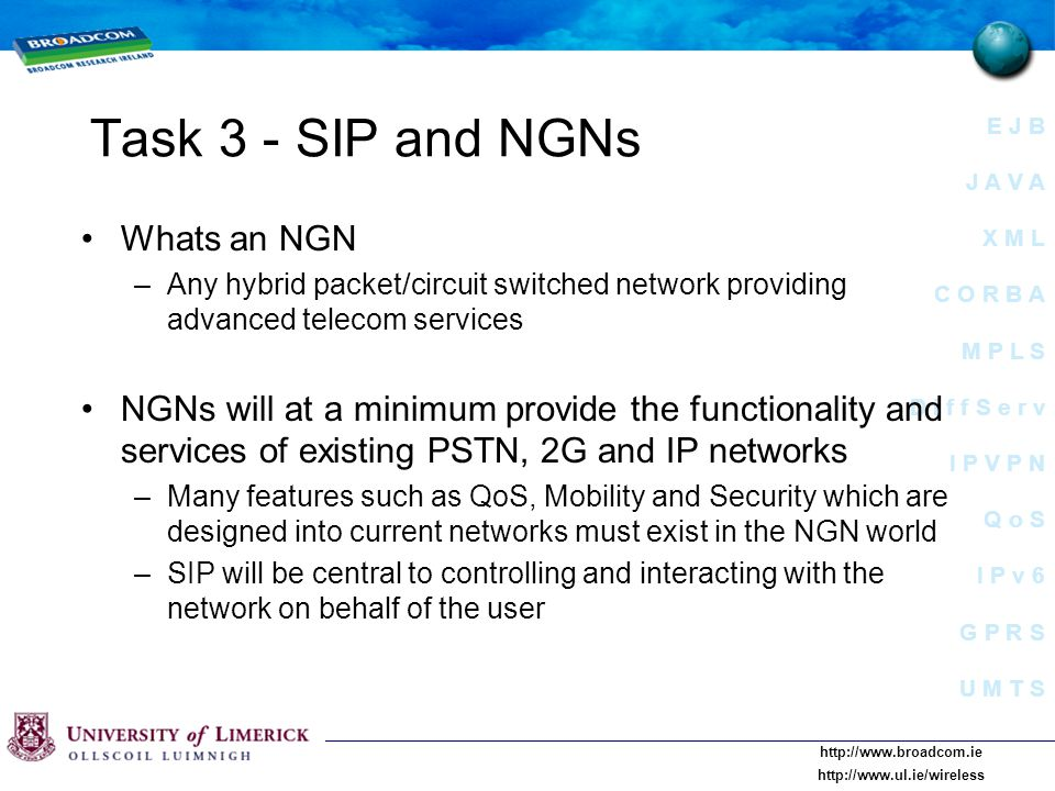 E J B J A V A X M L C O R B A M P L S D i f f S e r v I P V P N Q o S I P v 6 G P R S U M T S     Task 3 - SIP and NGNs Whats an NGN –Any hybrid packet/circuit switched network providing advanced telecom services NGNs will at a minimum provide the functionality and services of existing PSTN, 2G and IP networks –Many features such as QoS, Mobility and Security which are designed into current networks must exist in the NGN world –SIP will be central to controlling and interacting with the network on behalf of the user