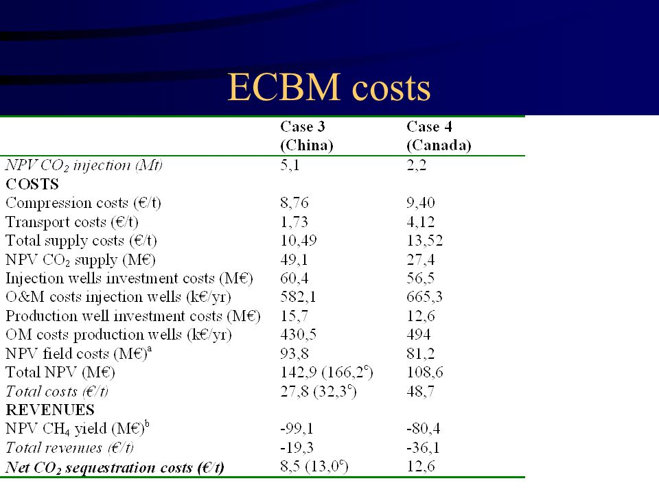ECBM costs