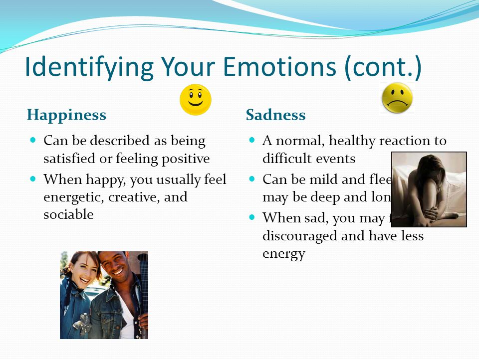 Identifying Your Emotions (cont.) Can be described as being satisfied or feeling positive When happy, you usually feel energetic, creative, and sociab