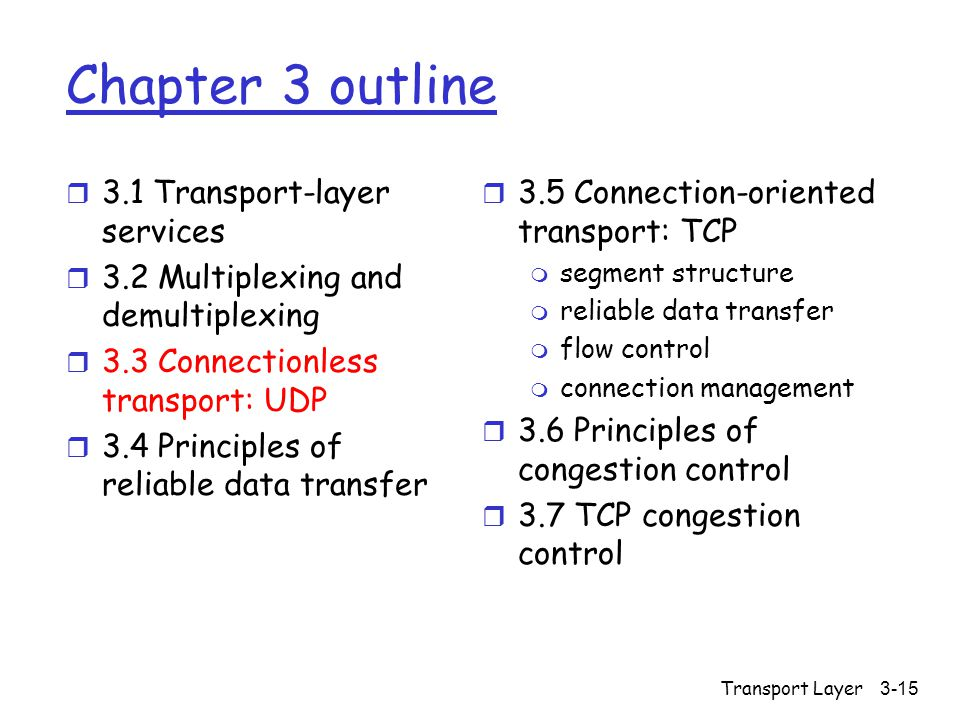 Transport Layer3-15 Chapter 3 outline r 3.1 Transport-layer services r 3.2 Multiplexing and demultiplexing r 3.3 Connectionless transport: UDP r 3.4 Principles of reliable data transfer r 3.5 Connection-oriented transport: TCP m segment structure m reliable data transfer m flow control m connection management r 3.6 Principles of congestion control r 3.7 TCP congestion control
