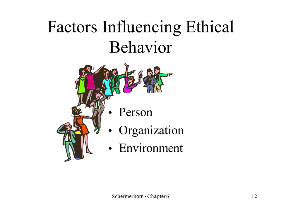 Schermerhorn - Chapter 611 Rationalizations for Unethical Behavior Convincing oneself that: –behavior is not really illegal –behavior is really in everyone's best interests –nobody will ever find out –the organization will protect you