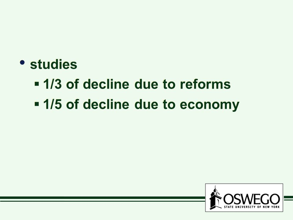 studies  1/3 of decline due to reforms  1/5 of decline due to economy studies  1/3 of decline due to reforms  1/5 of decline due to economy