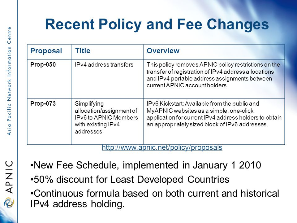 Recent Policy and Fee Changes ProposalTitleOverview Prop-050IPv4 address transfersThis policy removes APNIC policy restrictions on the transfer of registration of IPv4 address allocations and IPv4 portable address assignments between current APNIC account holders.