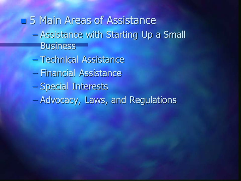 n 5 Main Areas of Assistance –Assistance with Starting Up a Small Business –Technical Assistance –Financial Assistance –Special Interests –Advocacy, Laws, and Regulations