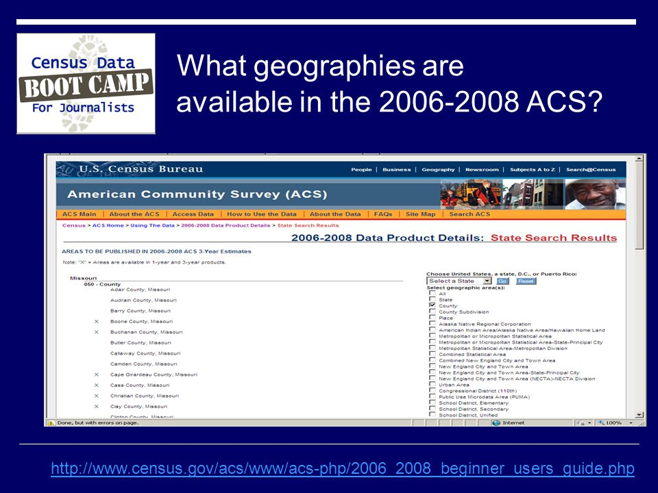 What geographies are available in the ACS.