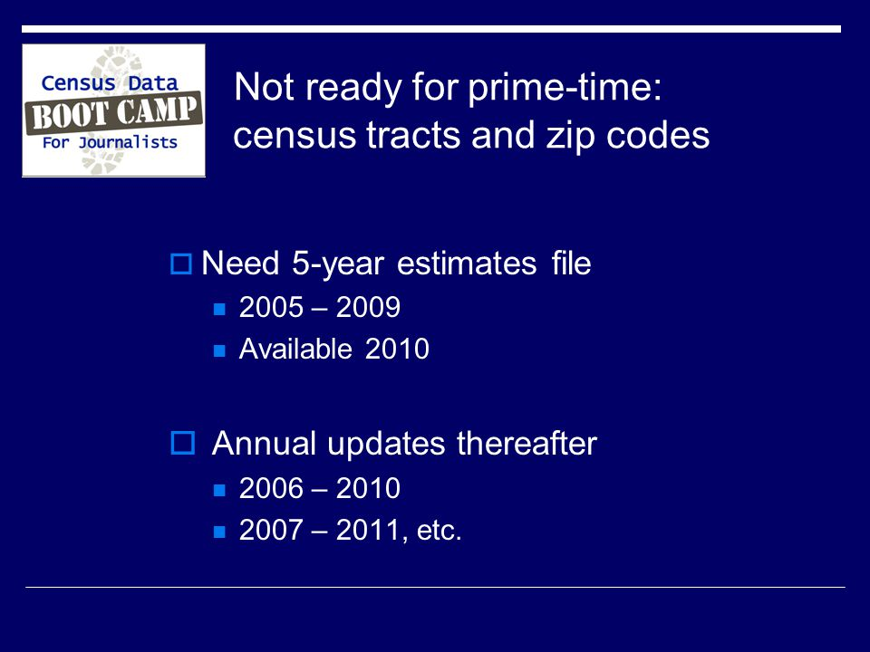 Not ready for prime-time: census tracts and zip codes  Need 5-year estimates file 2005 – 2009 Available 2010  Annual updates thereafter 2006 – – 2011, etc.