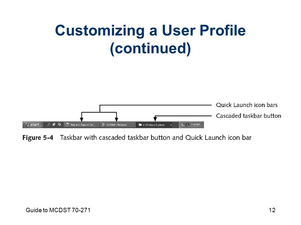 Guide to MCDST Customizing a User Profile (continued)