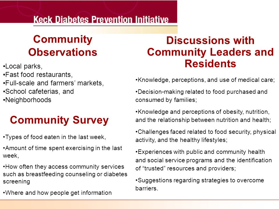 Community Observations Local parks, Fast food restaurants, Full-scale and farmers' markets, School cafeterias, and Neighborhoods Discussions with Community Leaders and Residents Knowledge, perceptions, and use of medical care; Decision-making related to food purchased and consumed by families; Knowledge and perceptions of obesity, nutrition, and the relationship between nutrition and health; Challenges faced related to food security, physical activity, and the healthy lifestyles; Experiences with public and community health and social service programs and the identification of trusted resources and providers; Suggestions regarding strategies to overcome barriers.
