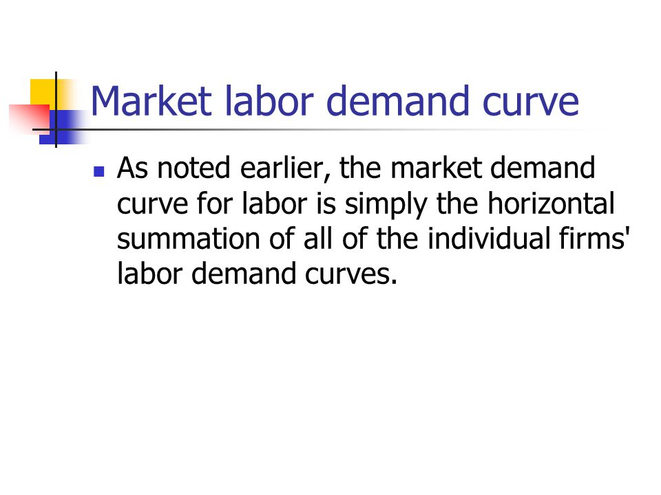 Market labor demand curve As noted earlier, the market demand curve for labor is simply the horizontal summation of all of the individual firms labor demand curves.