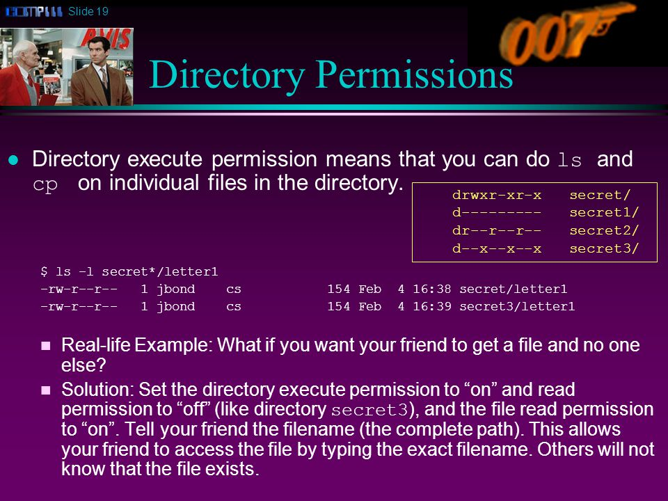 Slide 19 Directory Permissions Directory execute permission means that you can do ls and cp on individual files in the directory.