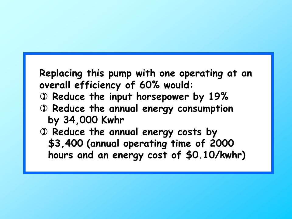 Replacing this pump with one operating at an overall efficiency of 60% would:  Reduce the input horsepower by 19%  Reduce the annual energy consumption by 34,000 Kwhr  Reduce the annual energy costs by $3,400 (annual operating time of 2000 hours and an energy cost of $0.10/kwhr)