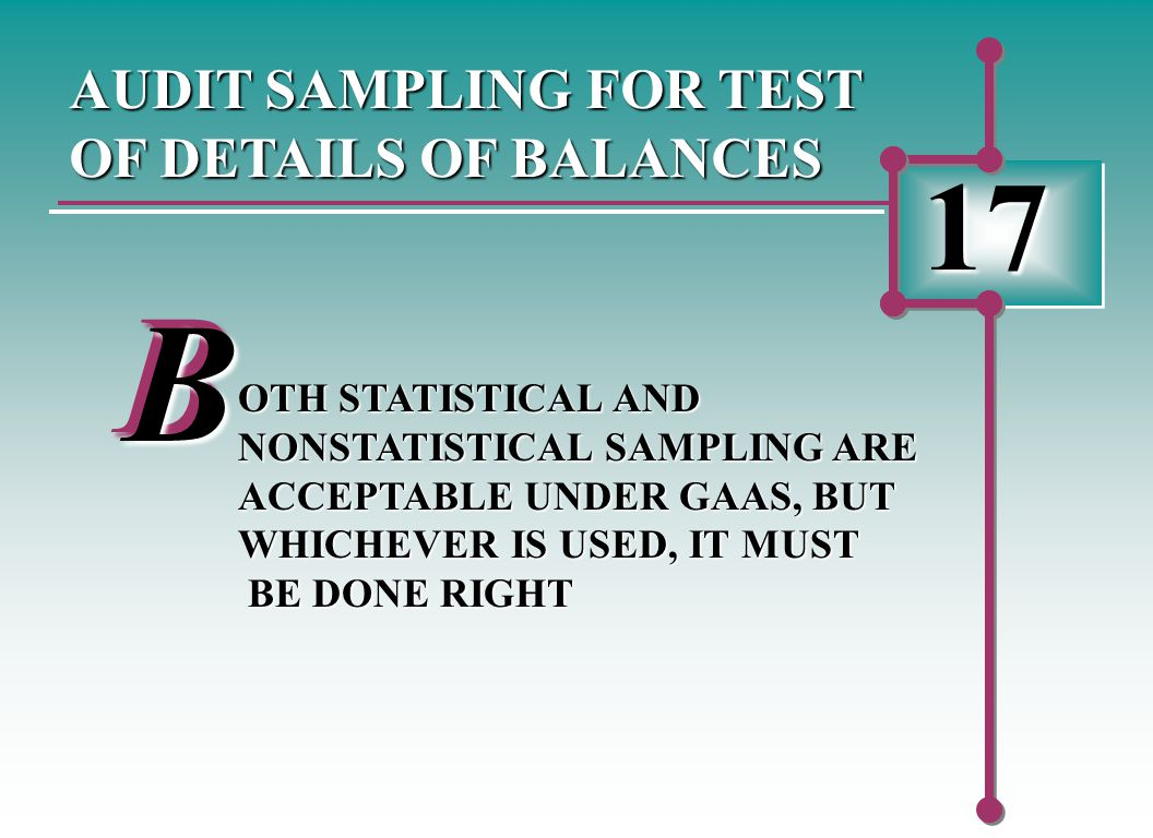 17 AUDIT SAMPLING FOR TEST OF DETAILS OF BALANCES BB OTH STATISTICAL AND NONSTATISTICAL SAMPLING ARE ACCEPTABLE UNDER GAAS, BUT WHICHEVER IS USED, IT MUST BE DONE RIGHT BE DONE RIGHT