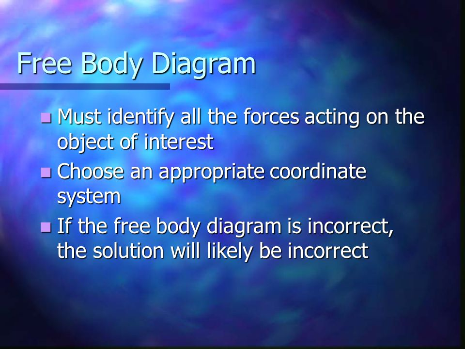 Free Body Diagram Must identify all the forces acting on the object of interest Must identify all the forces acting on the object of interest Choose an appropriate coordinate system Choose an appropriate coordinate system If the free body diagram is incorrect, the solution will likely be incorrect If the free body diagram is incorrect, the solution will likely be incorrect