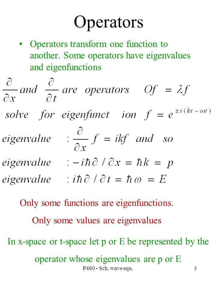 P460 - Sch. wave eqn.3 Operators Operators transform one function to another.
