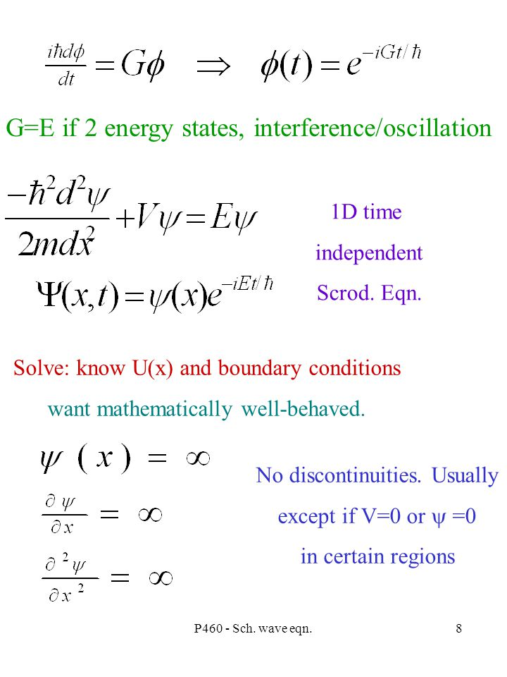 P460 - Sch. wave eqn.8 G=E if 2 energy states, interference/oscillation 1D time independent Scrod.