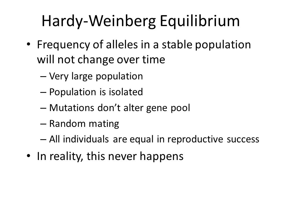 Hardy-Weinberg Equilibrium Frequency of alleles in a stable population will not change over time – Very large population – Population is isolated – Mutations don't alter gene pool – Random mating – All individuals are equal in reproductive success In reality, this never happens