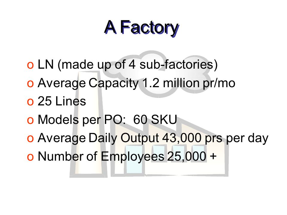 oLN (made up of 4 sub-factories) oAverage Capacity 1.2 million pr/mo o25 Lines oModels per PO: 60 SKU oAverage Daily Output 43,000 prs per day oNumber of Employees 25,000 + A Factory