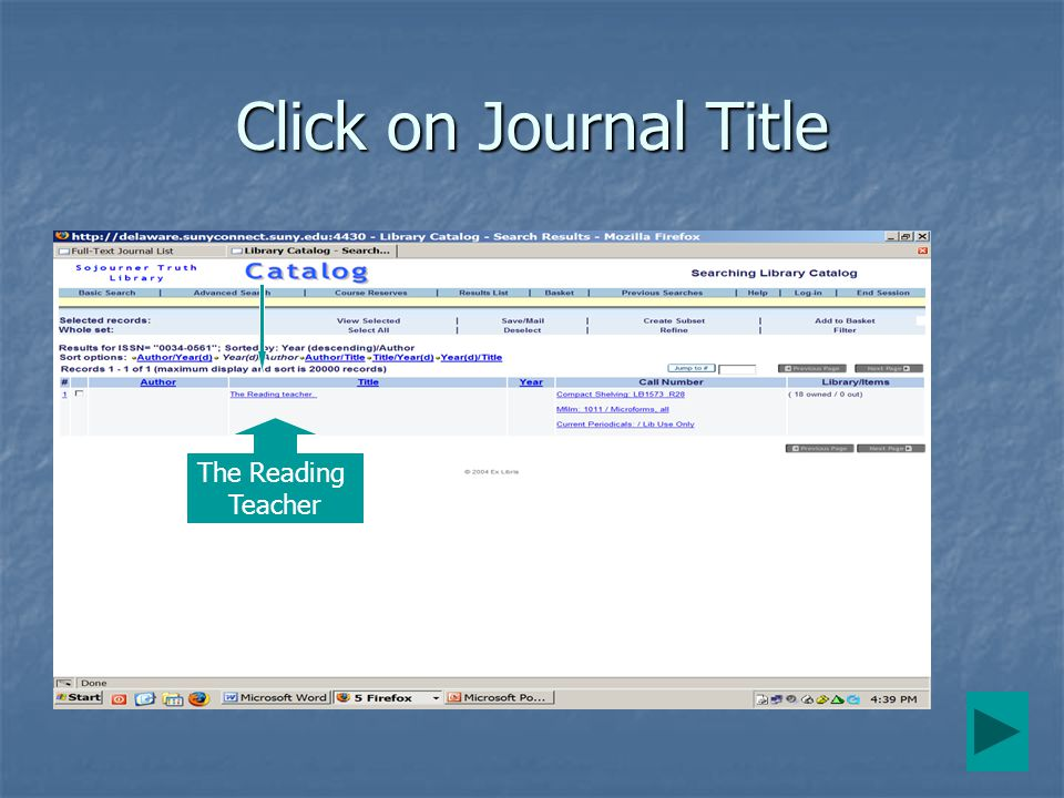 Click on Journal Title The Reading Teacher