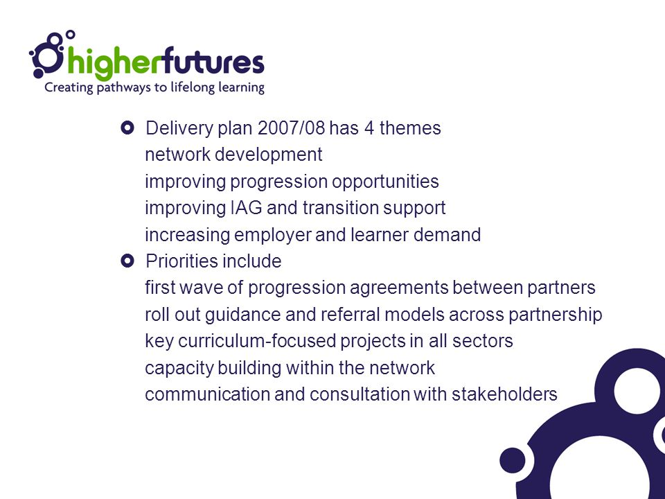  Delivery plan 2007/08 has 4 themes network development improving progression opportunities improving IAG and transition support increasing employer and learner demand  Priorities include first wave of progression agreements between partners roll out guidance and referral models across partnership key curriculum-focused projects in all sectors capacity building within the network communication and consultation with stakeholders