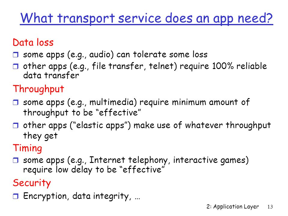 2: Application Layer 13 What transport service does an app need.