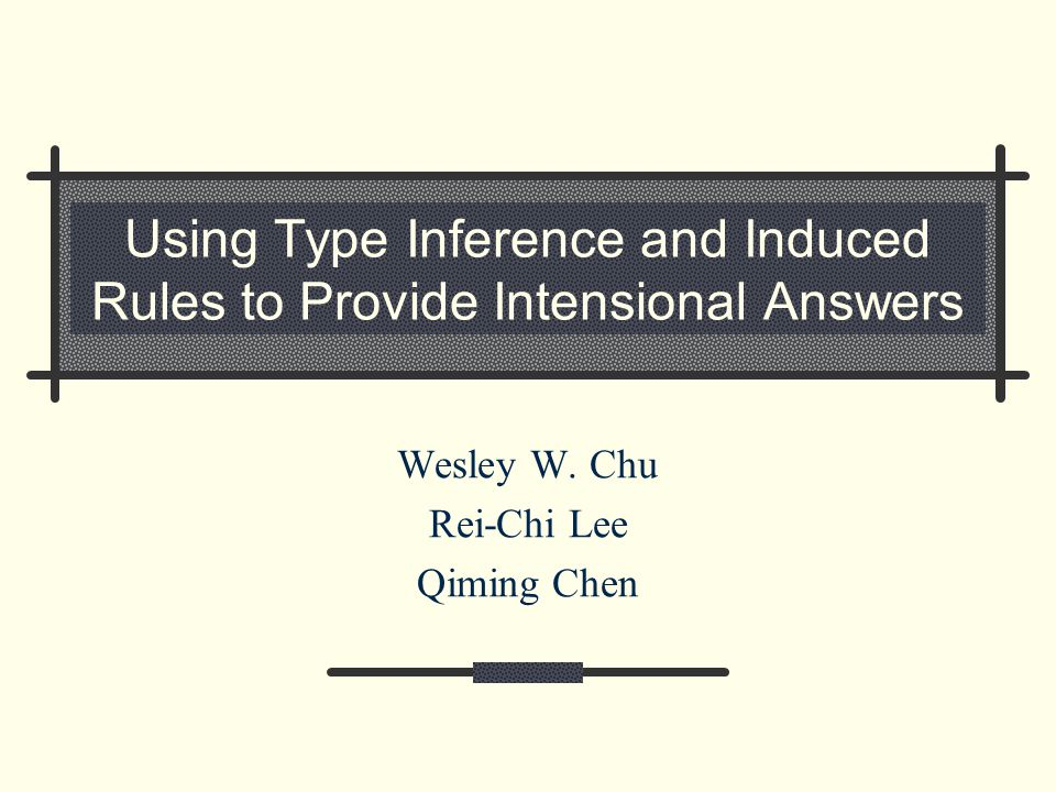Using Type Inference and Induced Rules to Provide Intensional Answers Wesley W.