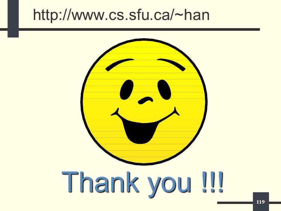 119 http://www.cs.sfu.ca/~han Thank you !!!