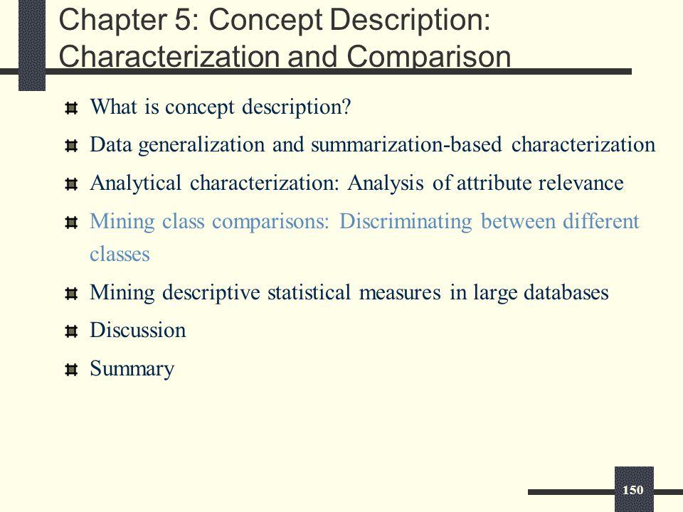 150 Chapter 5: Concept Description: Characterization and Comparison What is concept description.