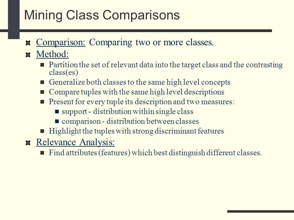 Mining Class Comparisons Comparison: Comparing two or more classes.