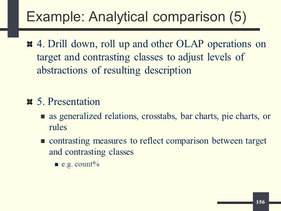 156 Example: Analytical comparison (5) 4.