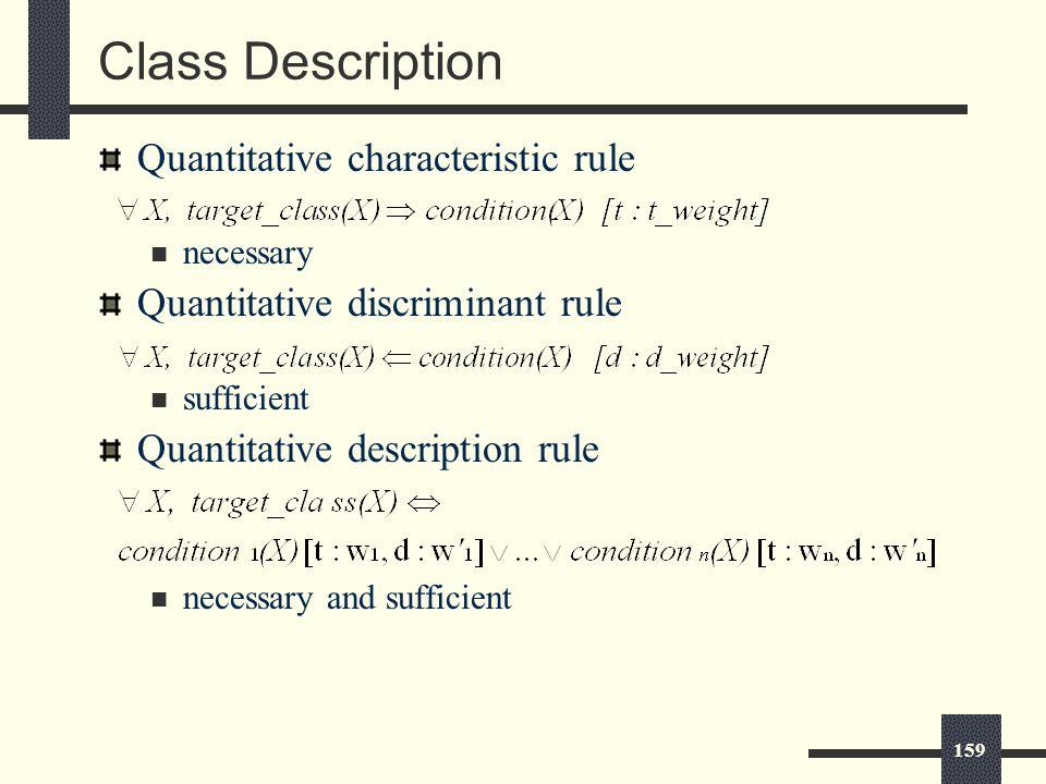 159 Class Description Quantitative characteristic rule necessary Quantitative discriminant rule sufficient Quantitative description rule necessary and sufficient