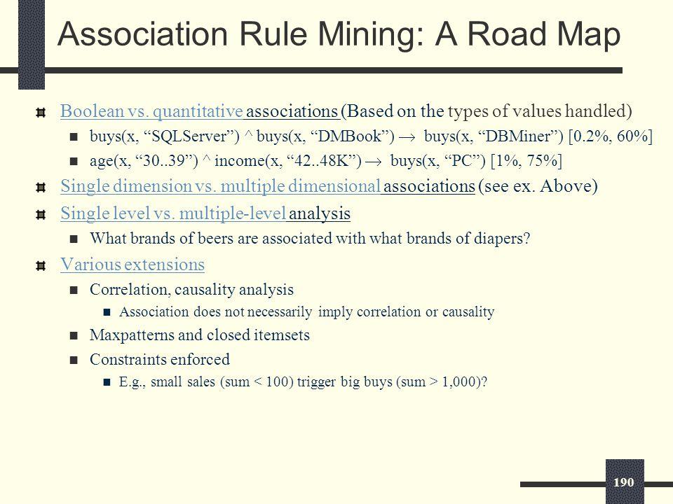 190 Association Rule Mining: A Road Map Boolean vs.