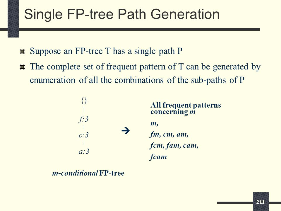 211 Single FP-tree Path Generation Suppose an FP-tree T has a single path P The complete set of frequent pattern of T can be generated by enumeration of all the combinations of the sub-paths of P {} f:3 c:3 a:3 m-conditional FP-tree All frequent patterns concerning m m, fm, cm, am, fcm, fam, cam, fcam 