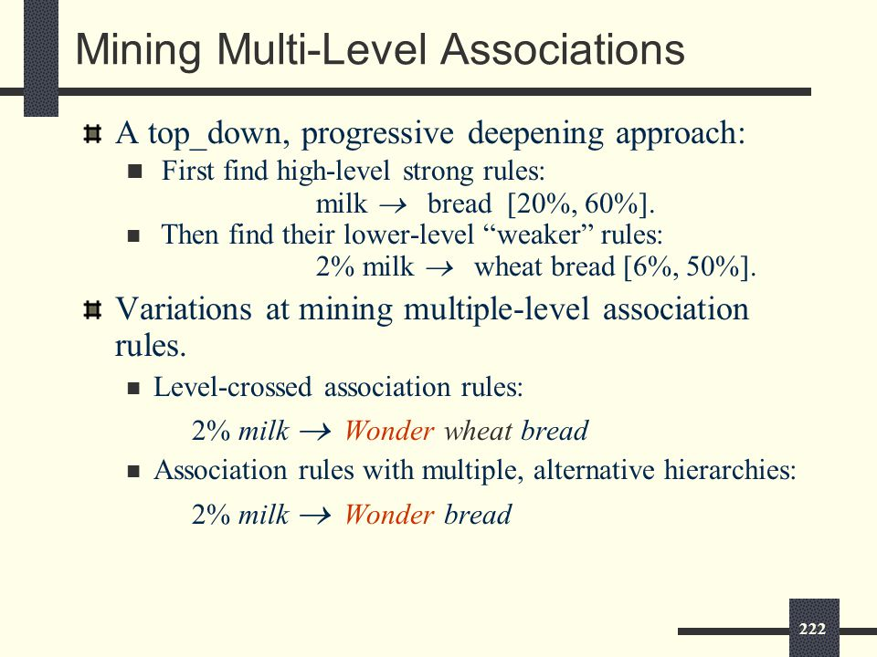 222 Mining Multi-Level Associations A top_down, progressive deepening approach: First find high-level strong rules: milk  bread [20%, 60%].