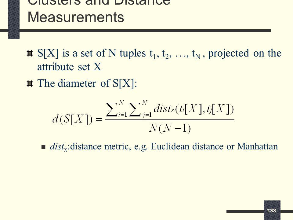 238 S[X] is a set of N tuples t 1, t 2, …, t N, projected on the attribute set X The diameter of S[X]: dist x :distance metric, e.g.