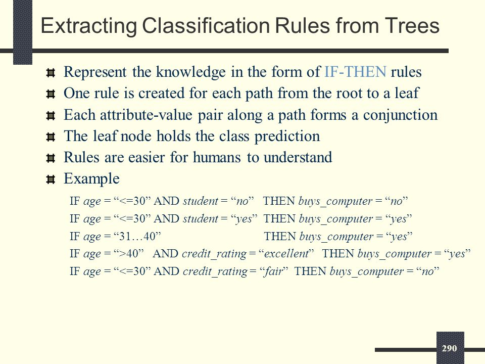 290 Extracting Classification Rules from Trees Represent the knowledge in the form of IF-THEN rules One rule is created for each path from the root to a leaf Each attribute-value pair along a path forms a conjunction The leaf node holds the class prediction Rules are easier for humans to understand Example IF age = <=30 AND student = no THEN buys_computer = no IF age = <=30 AND student = yes THEN buys_computer = yes IF age = 31…40 THEN buys_computer = yes IF age = >40 AND credit_rating = excellent THEN buys_computer = yes IF age = <=30 AND credit_rating = fair THEN buys_computer = no