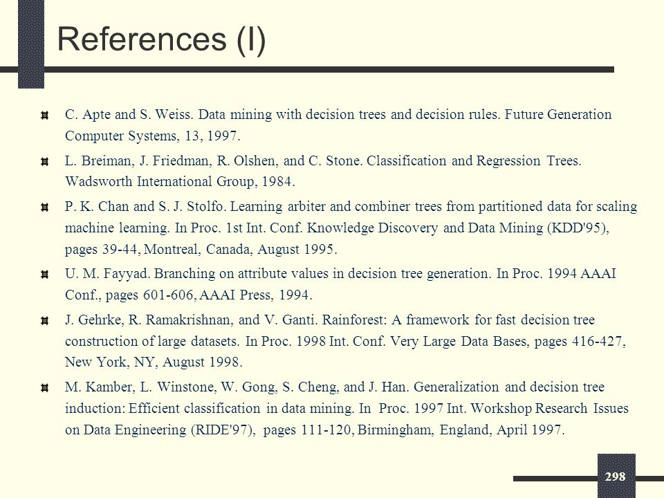 298 References (I) C. Apte and S. Weiss. Data mining with decision trees and decision rules.