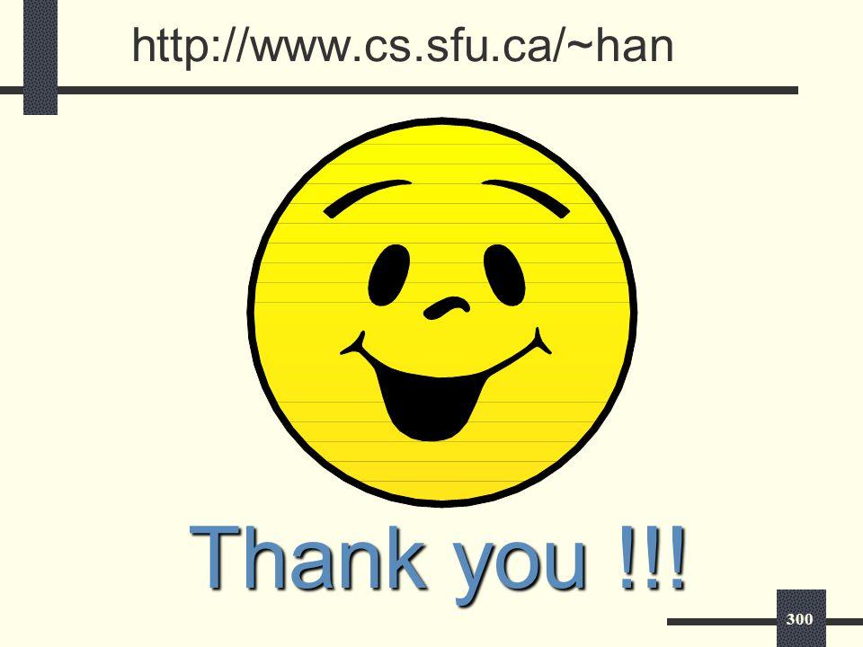 300 http://www.cs.sfu.ca/~han Thank you !!!
