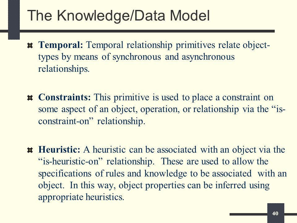 40 The Knowledge/Data Model Temporal: Temporal relationship primitives relate object- types by means of synchronous and asynchronous relationships.