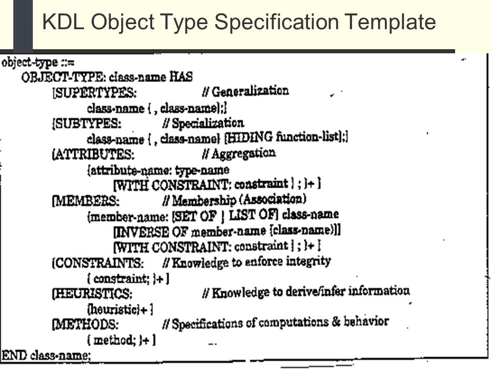 45 KDL Object Type Specification Template