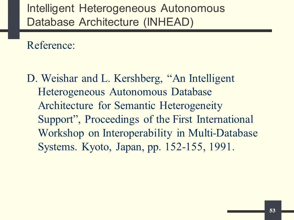 53 Intelligent Heterogeneous Autonomous Database Architecture (INHEAD) Reference: D.
