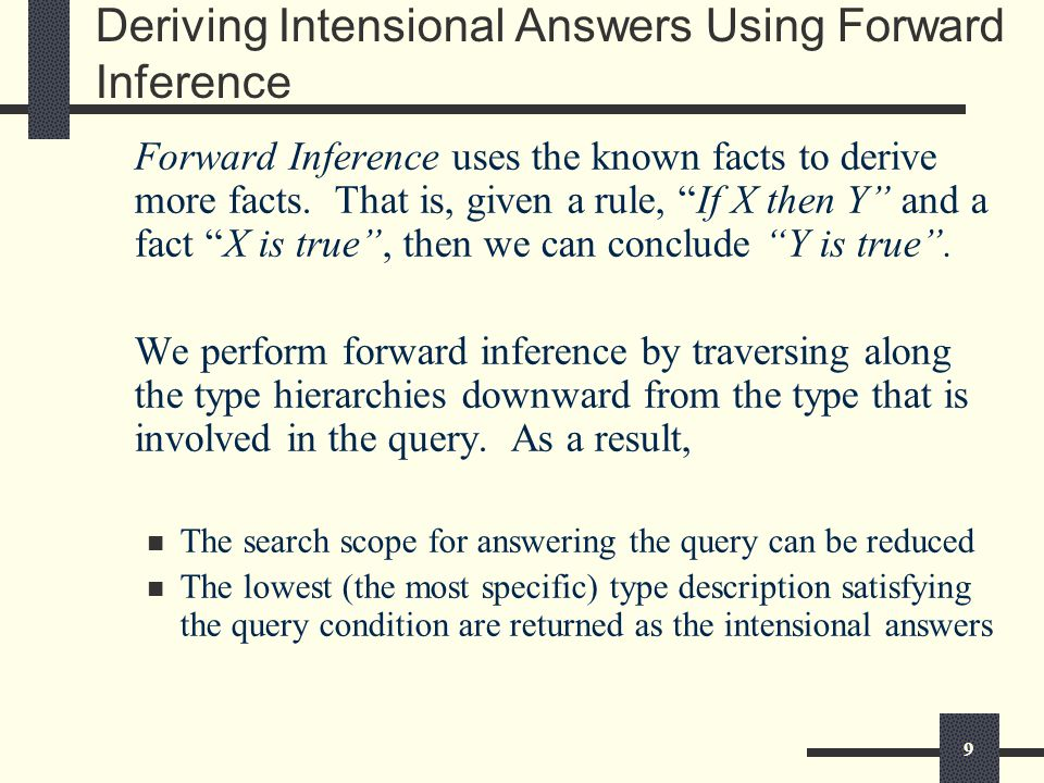 9 Deriving Intensional Answers Using Forward Inference Forward Inference uses the known facts to derive more facts.