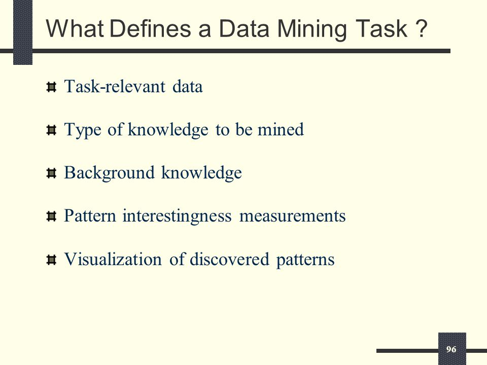 96 What Defines a Data Mining Task .
