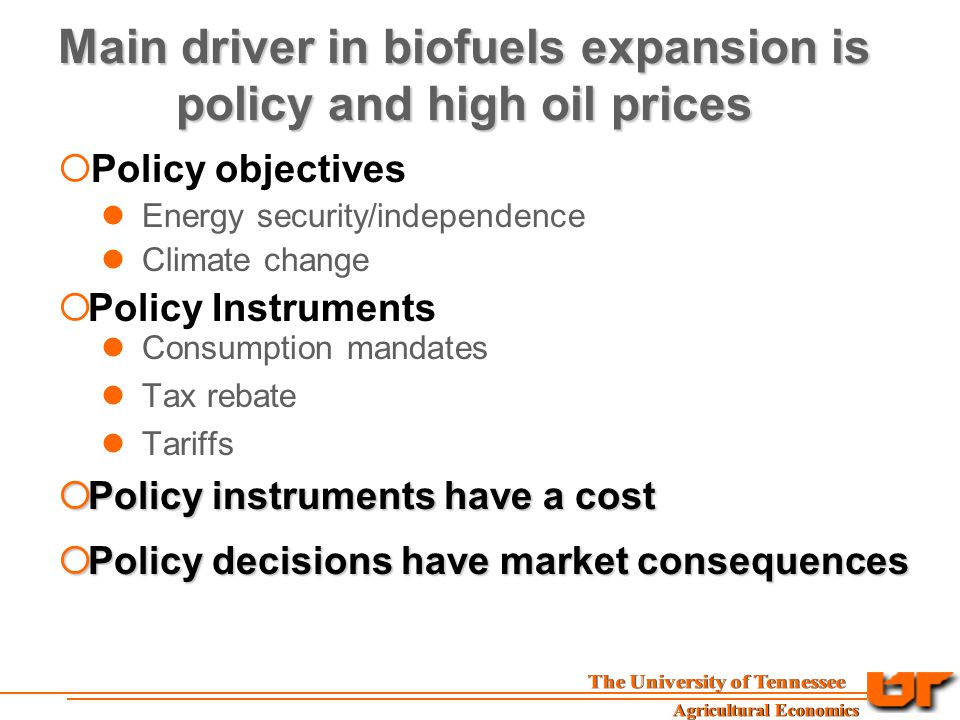Main driver in biofuels expansion is policy and high oil prices  Policy objectives Energy security/independence Climate change  Policy Instruments Consumption mandates Tax rebate Tariffs  Policy instruments have a cost  Policy decisions have market consequences