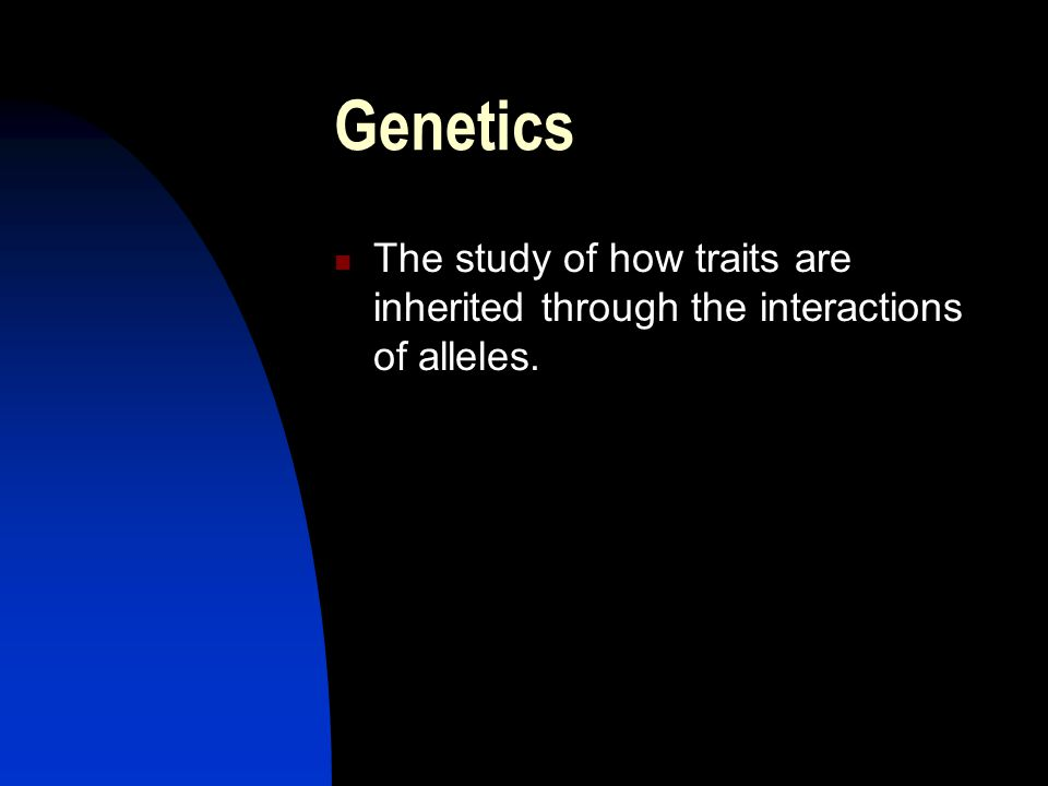 Genetics The study of how traits are inherited through the interactions of alleles.