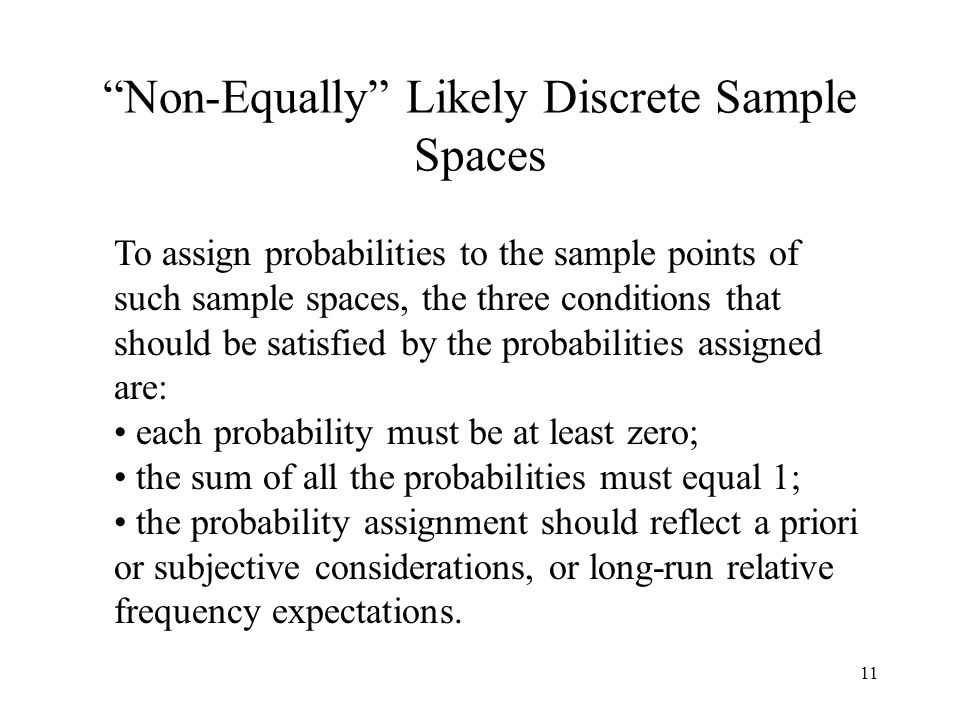 11 Non-Equally Likely Discrete Sample Spaces To assign probabilities to the sample points of such sample spaces, the three conditions that should be satisfied by the probabilities assigned are: each probability must be at least zero; the sum of all the probabilities must equal 1; the probability assignment should reflect a priori or subjective considerations, or long-run relative frequency expectations.