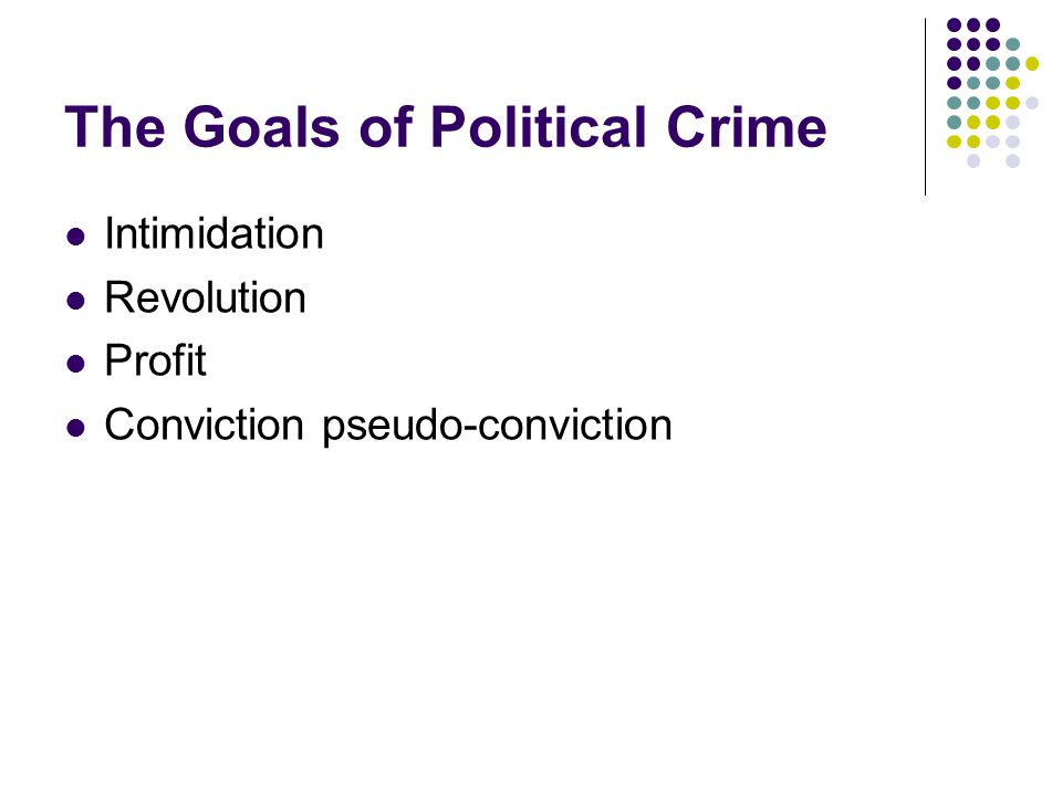 The Goals of Political Crime Intimidation Revolution Profit Conviction pseudo-conviction