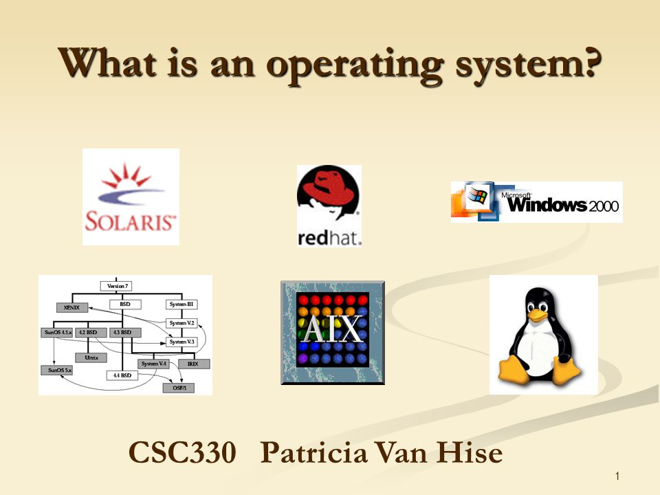 1 What is an operating system CSC330Patricia Van Hise