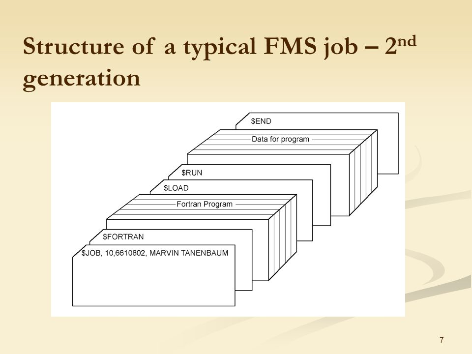 7  Structure of a typical FMS job – 2 nd generation
