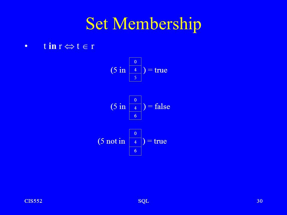 CIS552SQL30 Set Membership t in r  t  r (5 in ) = true (5 in ) = false (5 not in ) = true